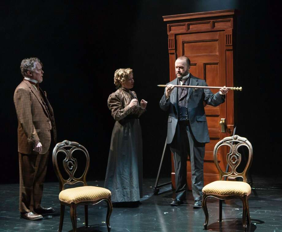 """Daniel Pearce, Kelly Hutchinson, and Alex Moggridge in """"Baskerville: A Sherlock Holmes Mystery."""""""