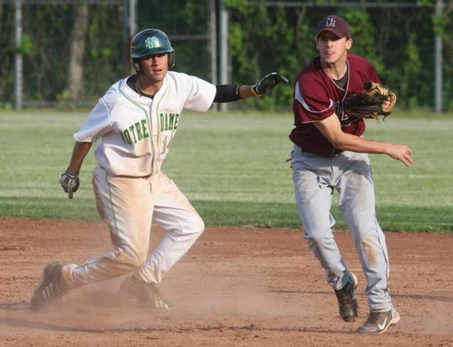 North Haven's Devin Kresge tries to turn a double play in the Indians' 5-4 victory over Notre Dame-West Haven last Friday afternoon. (Photo by Russ McCreven)