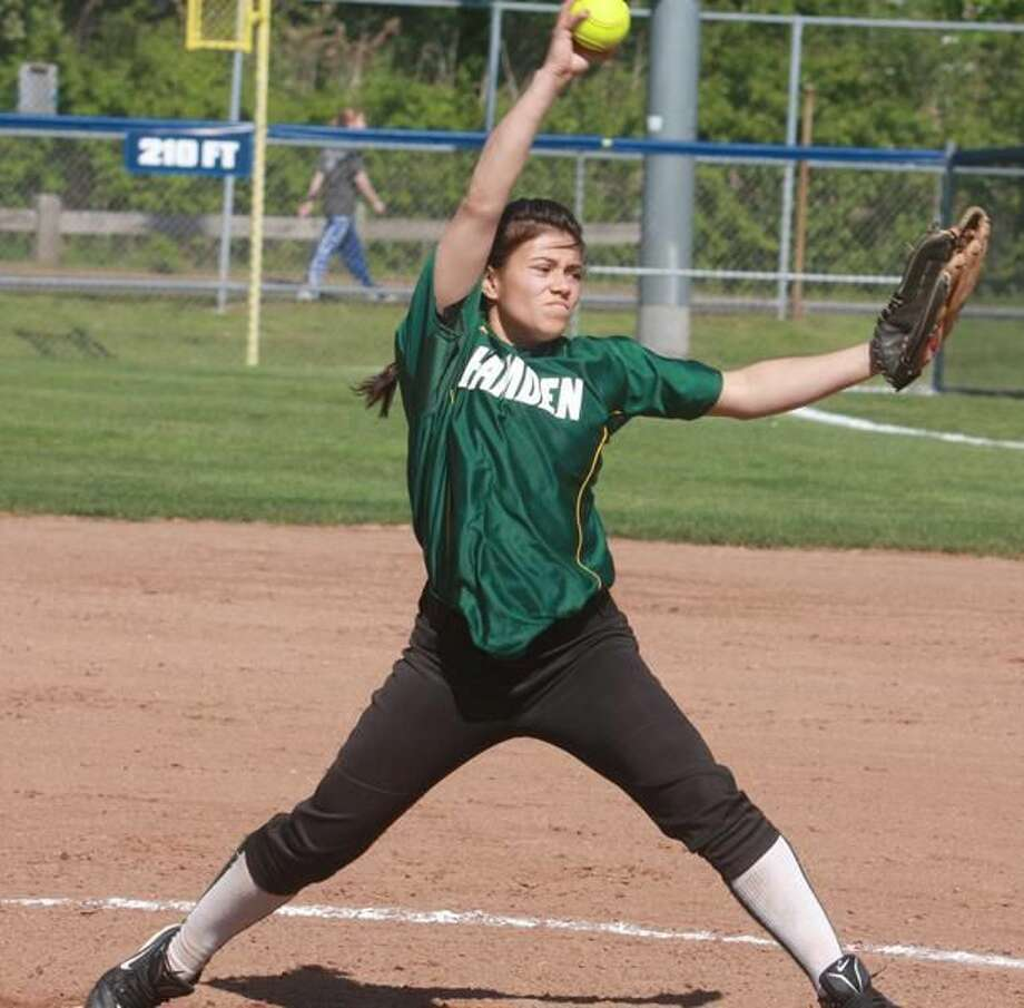 Hamden's Britne Sargolini delivers a pitch in the Lady Dragons' 6-1 loss to West Haven last Thursday at Biondi Field in West Haven. (Photo by Russ McCreven)