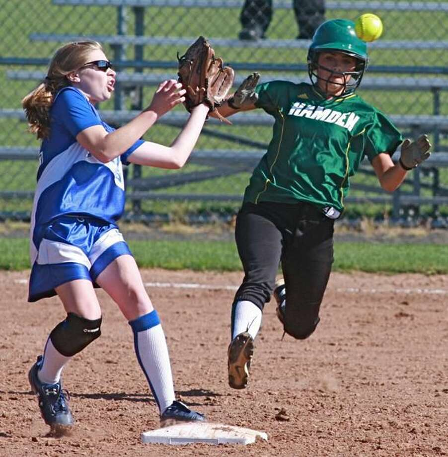 The Hamden softball team defeated Wilbur Cross 12-0 last week and closed out its season on Monday against Shelton. (Photo by Russ McCreven)