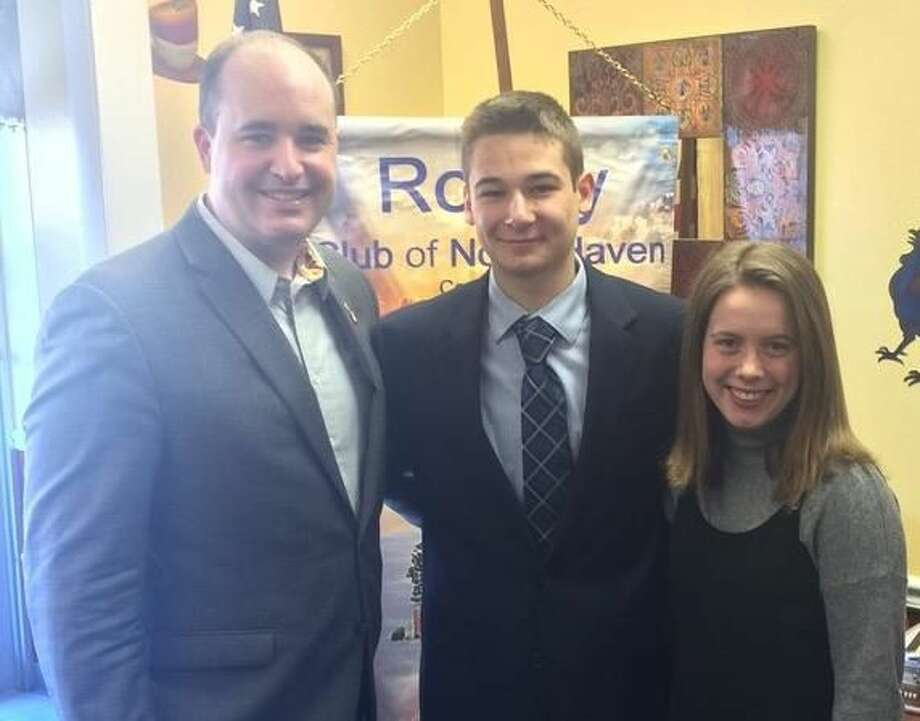 From left, North Haven Rotary President Brian Coughlin with Students of the Month Jack Opramolla and Quinn Kirby.