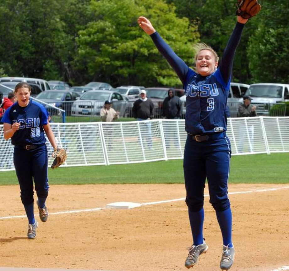 SCSU pitcher Jayme Larson raises her arms in victory after closing out the NE-1o championship. (Photo by Mara Lavitt/ New Haven Register)