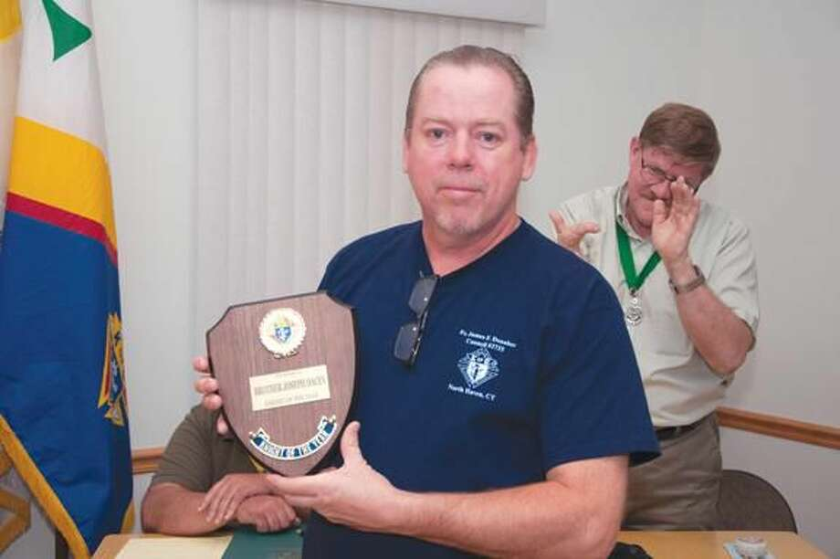 Submitted Photo North Haven Knights of Columbus named Joseph Dacey as the Knight of the Year for 2014.