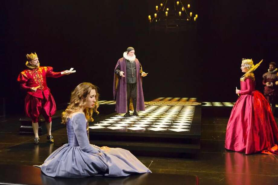 """Submitted Photo by T. Charles Erickson Andrew Long, Brittany Vicars, Edward James Hyland, and Kate Forbes perform in """"Hamlet"""" at Hartford Stage."""