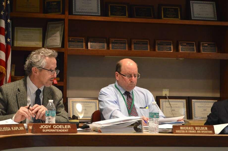 Schools Supt. Jody Goeler and Michael Belden, Director of Finance and Operations for Hamden schools.