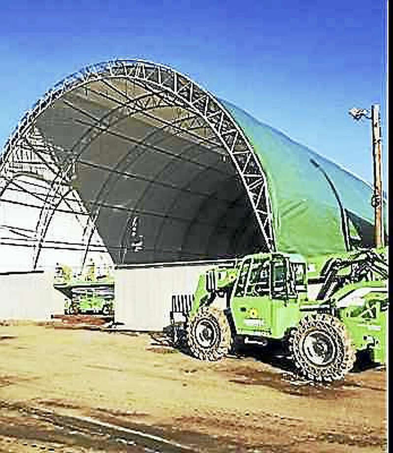 Contributed photo Hamden's new salt shed is under construction.