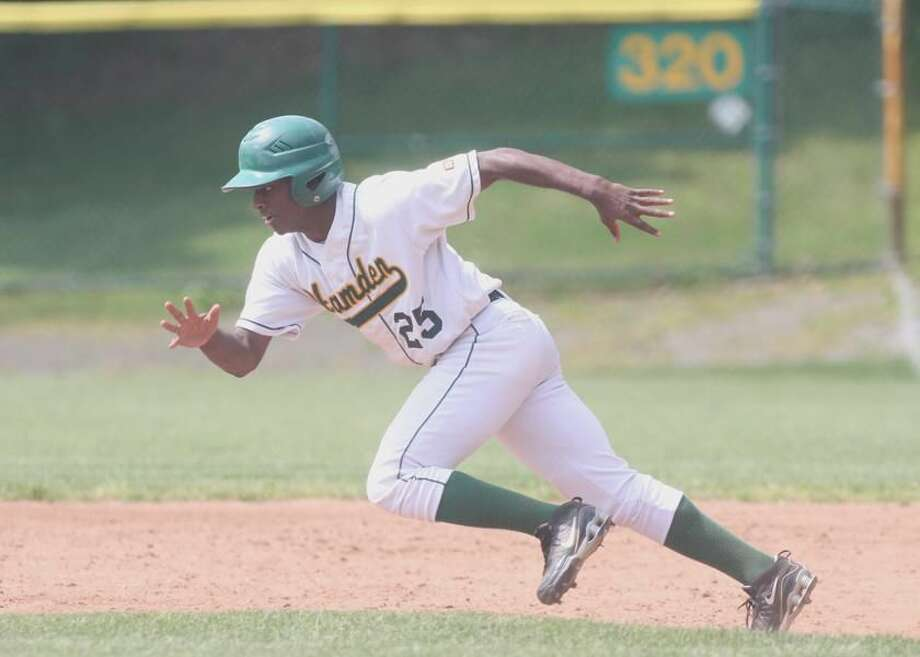 Hamden's Jordan Teague takes off for second base and records one of his two stolen bases in the Green Dragons' 3-1 Class LL qualifying-round victory over Crosby Saturday afternoon at Hamden High. (Photo by Russ McCreven)