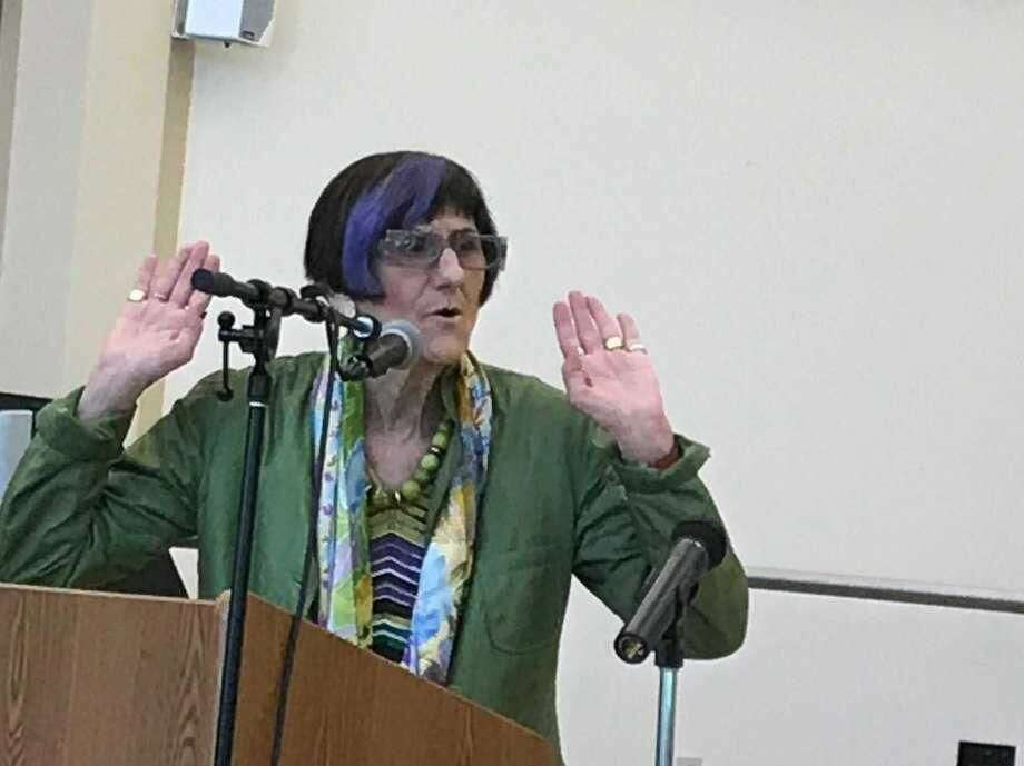 U.S. Rep. Rosa DeLauro, D-3, gestures while speaking to a crowd at the Wallingford Senior Center Wednesday, May 30.