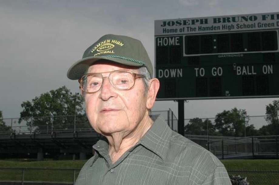 Hamden's Joe Bruno was honored with the dedication and renaming of the Hamden High School athletic field as Joseph Bruno Field in a ceremony last Thursday. (Photo by Bill O'Brien)