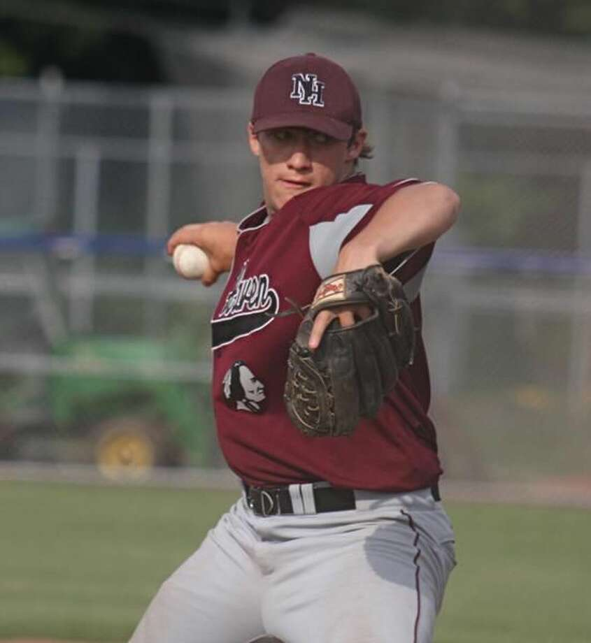 Andrew Brockett delivers a pitch in the Indians' 6-5 win over Fitch. (Photo by Russ McCreven)