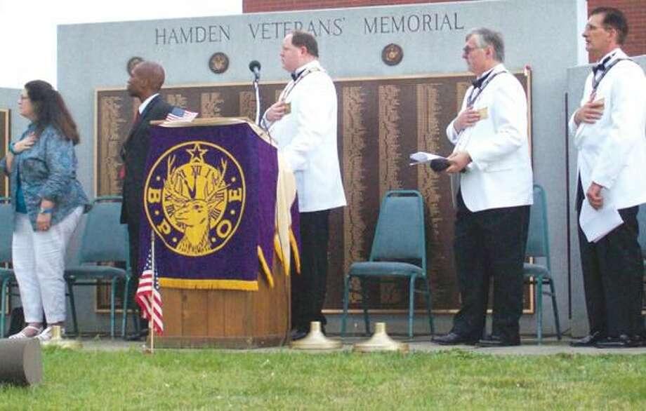 "Submitted Photo Above, Mayor Scott Jackson and Hamden Elks Lodge members participate in Hamden's Flag Day Ceremony at the Hamden Veterans"" Memorial Monday, June 14."