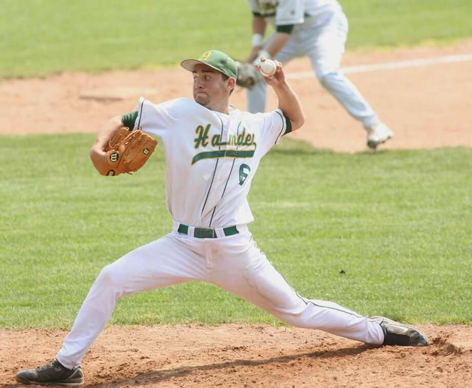 Hamden's P.J. Scott fires a pitch in the Green Dragons' 3-1 victory over Crosby. (Photo by Russ McCreven)