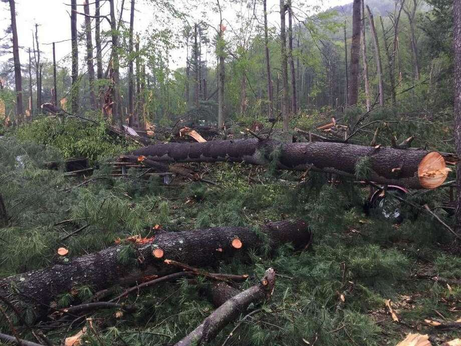 The scene around Sleeping Giant State Park in Hamden, a day after a strong storm ripped through the region knocking out power and damaging structures.