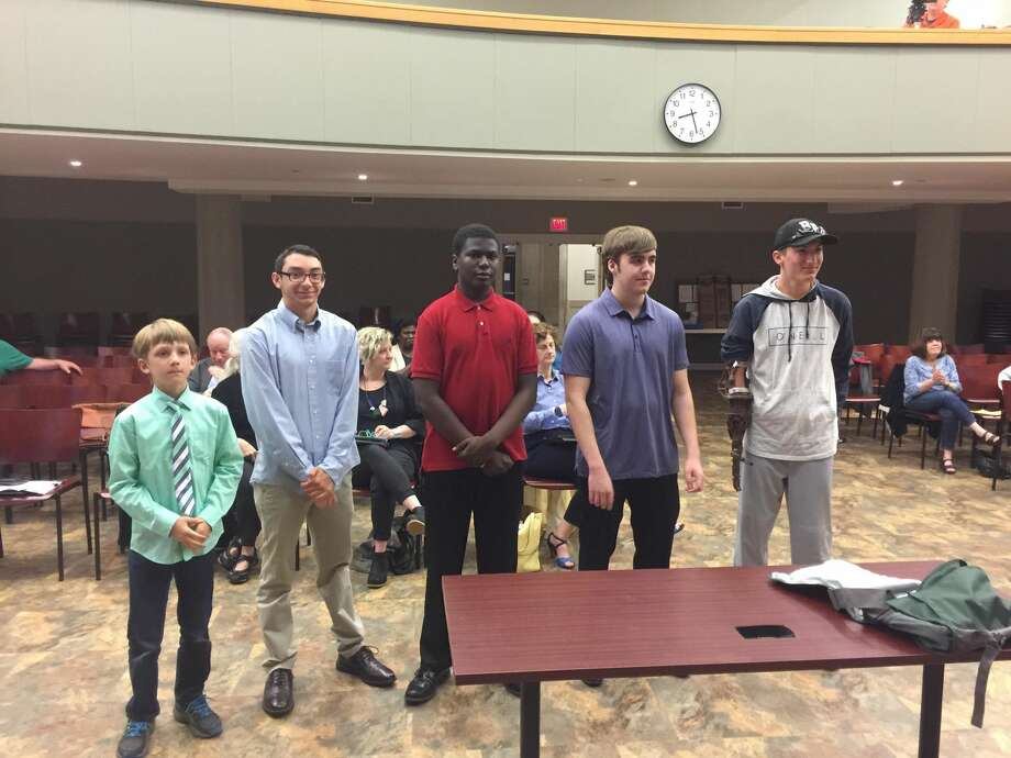 Hamden students showed off their scientific and technological achievements at Monday's meeting of the Legislative Council. Above, from left, Greyson Vasseur, Tim Lettiero, David Jackson, Joshua Williams, and Hayden Piterski.