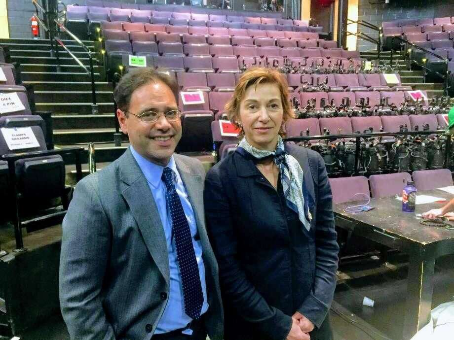 Long Wharf Managing Director Josh Borenstein and board of trustees Chairwoman Laura Pappano at the theater Tuesday, June 12.