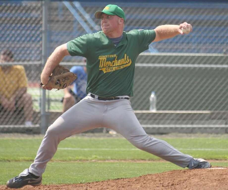 Photo by Russ McCreven Don White fires a pitch for the Downtown Merchant A's.