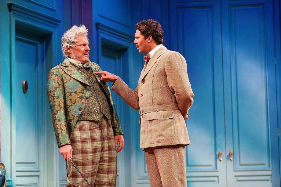 "John Resenhouse and Robert Adelman Hancock in ""A Flea in Her Ear,"" a new version of Georges Feydeau's farce, written by David Ives, directed by Mark Lamos, at Westport Country Playhouse, now playing through July 28."