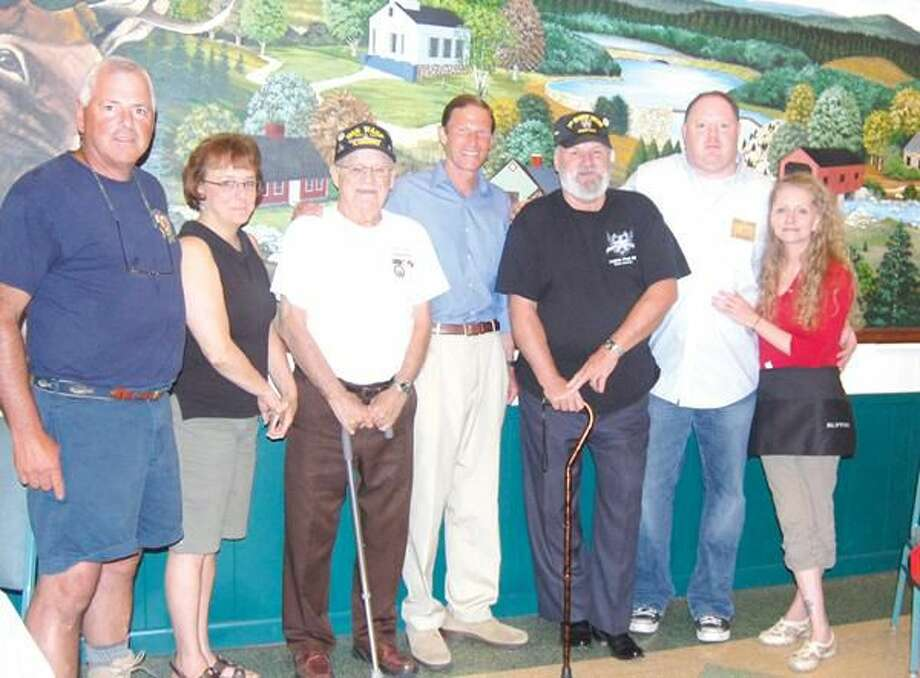 Submitted Photo Event co-chair Peter Laffin, member of the Governor's Foot Guard and Hamden Elks; Elk member Nancy Torello; co-chair Don Tozzo of Hamden Elks Lodge; Attorney General Richard Blumenthal; co-chair Fred McCarthy of American Legion Post 88; Tim Mayer, Hamden Elks Lodge president; and Hamden Elk Member Robin Fusco. Also in attendance supporting the event but not shown, Hamden Mayor Scott Jackson and Town Clerk Vera Morrison.