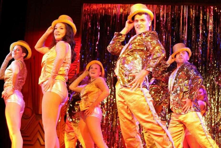 "Kayla Starr Bryan, Lili Thomas, Sarah Warrick, Matthew Carp, Cory Candelet in ""A Chorus Line."""