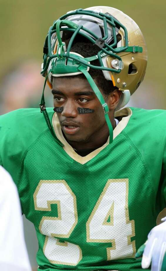 Photo by Mara Lavitt/New Haven Register Notre Dame's Tirrell Young-Williams.