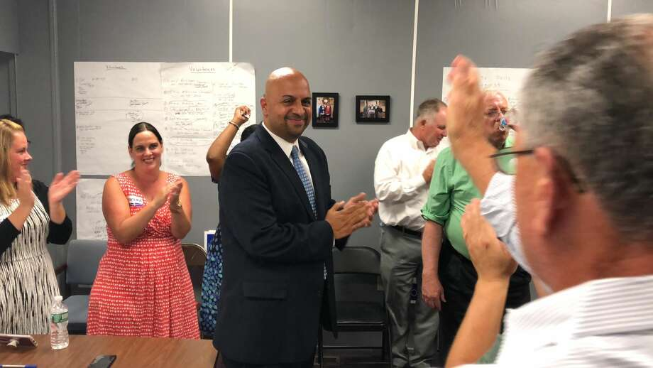 Jorge Cabrera celebrated with supporters after winning the Democratic nomination to run for the 17th district seat in the state Senate Tuesday, Aug. 14.