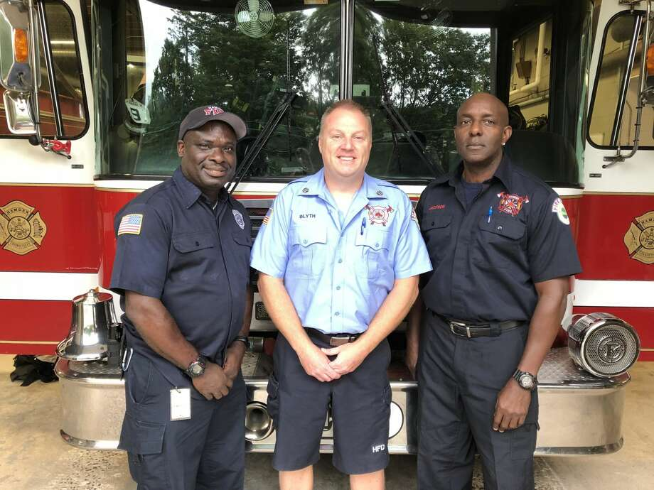 Hamden firefighters shared thoughts and memories on the 17th anniversary of the Sept. 11, 2001 terrorist attacks Tuesday. Pictured from left: Firefighter Gary Greene, Capt. Jason Blyth, Firefighter Victor Jackson.