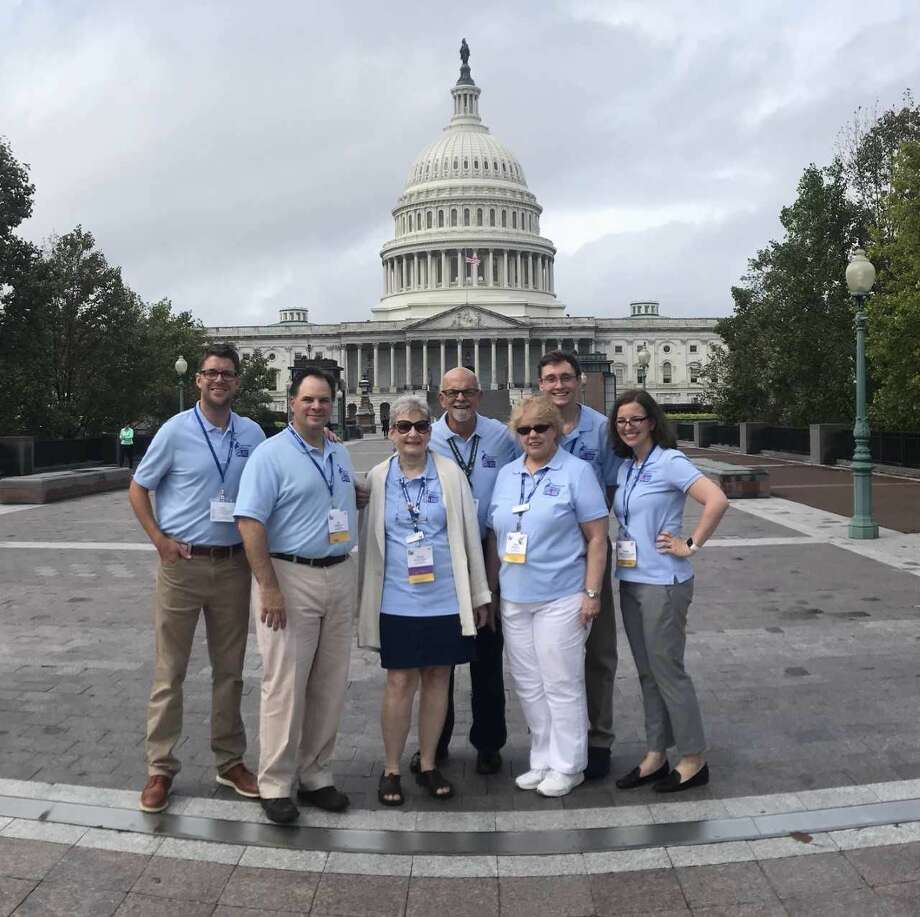 """David """"Coach"""" Koch (center) on his way to meet with lawmakers as part of the American Cancer Society Cancer Action Network (ACS CAN)'s annual Leadership Summit and Lobby Day in Washington, D.C."""