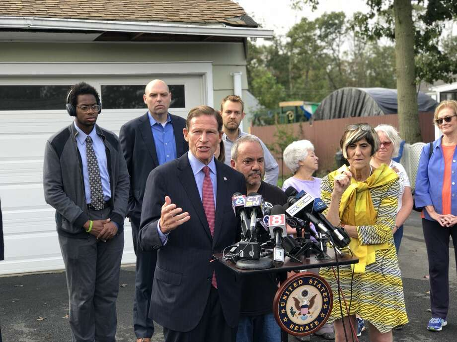 U.S. Sen. Richard Blumenthal and U.S. Rep. Rosa DeLauro announced their intention to change the Stafford Act to allow individual homeowners to be reimbursed for debris removal after natural disasters Tuesday morning, Oct. 9, in Hamden. Other speakers included Mayor Curt B. Leng, State Rep. Josh Elliott, and homeowner Mark Baselice.