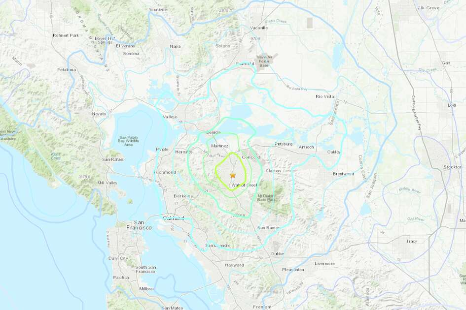 A magnitude 4.5 earthquake struck at 10:33 PM local time in Pleasant Hill, California.