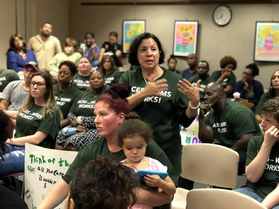 Parents and community members from the Wintergreen Interdistrict Magnet School lobbied the Board of Education not to force students and the program out of the building, as would occur under recent redistricting proposals.