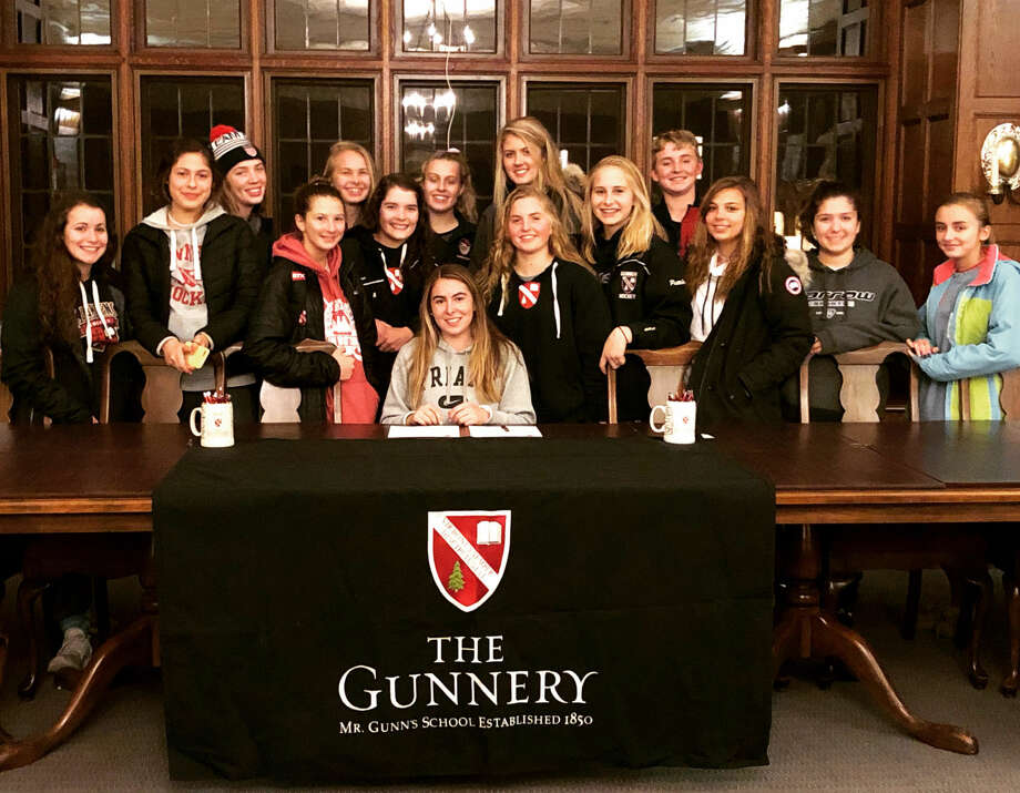 Katie Broccoli of North Haven, a senior at The Gunnery in Washington, Connecticut, signed a national letter of intent on November 14 to play women's ice hockey at Providence College.