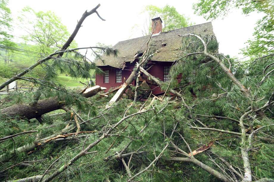 A pine tree rests on the Jonathan Dickerman House Museum on Mt. Carmel Ave. in Hamden.