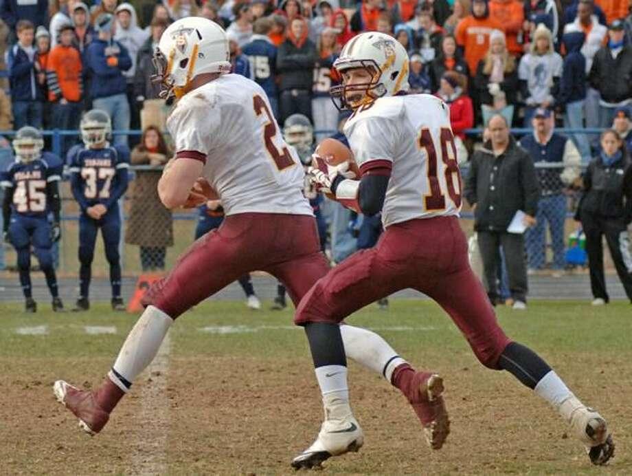 Photo by Ray Yanagisawa Sheehan freshman quarterback Jeremy Gannon and running back Maxx Frisco.