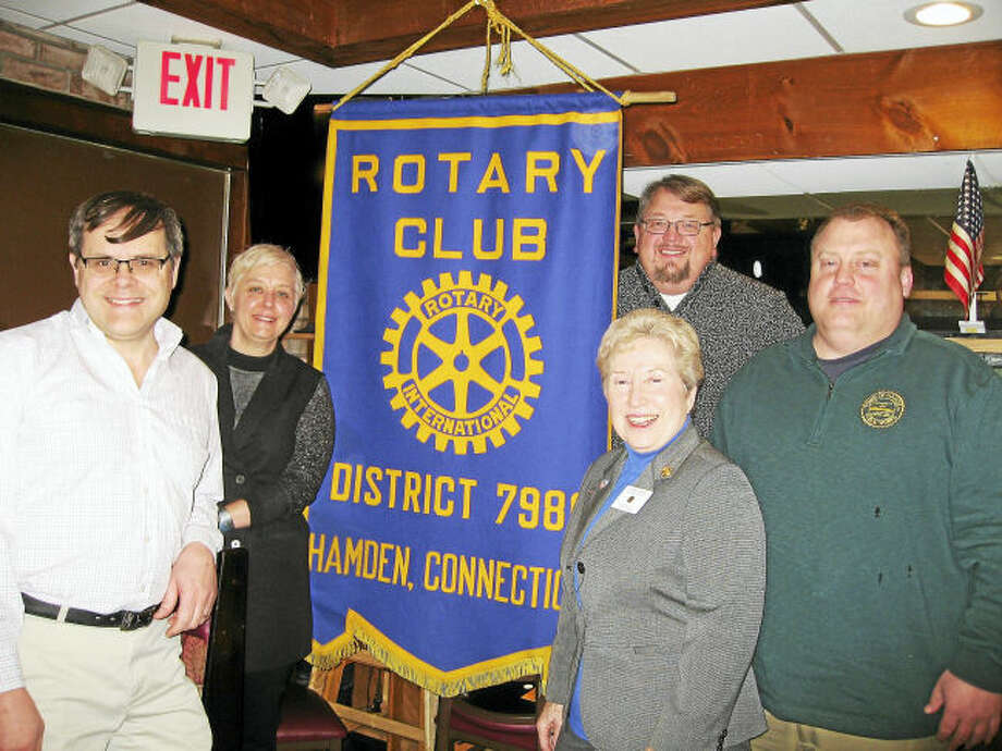 Contributed photo From left, Paul Begemann, President-Elect Hamden Rotary Club; Julie Smith, Town of Hamden Chief of Staff; Lynn Campo, President Hamden Rotary Club; Matt Fitch, Hamden Town Center Park Commission; Craig Cesare, Town of Hamden Director of Public Works.