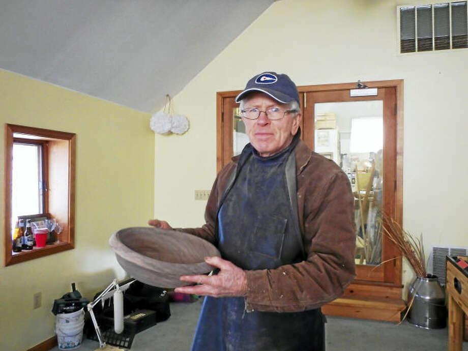 Photo by Cindy Golia. Walt with finished Black Walnut bowl.