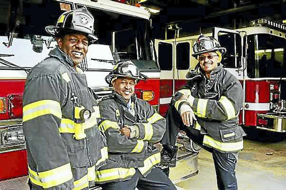 Peter Hvizdak — New Haven Register Firefighter/EMT Victor Jackson, Fire Lieutenant/EMT Julio Lopes, and Firefighter/EMT Sayyid Abdur-Rahman of the Hamden Fire Department, left to right, are planning to start a Fire Explorers Academy to encourage youth to consider firefighting as a career path.