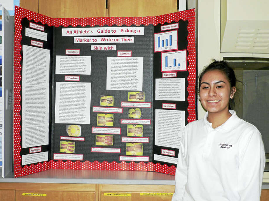 """Contributed photo Hamden resident Brisa Mendoza placed third in the Academy's Science Fair Freshman Division for her """"An Athlete's Guide to Picking a Marker to Write on their Skin"""" project."""