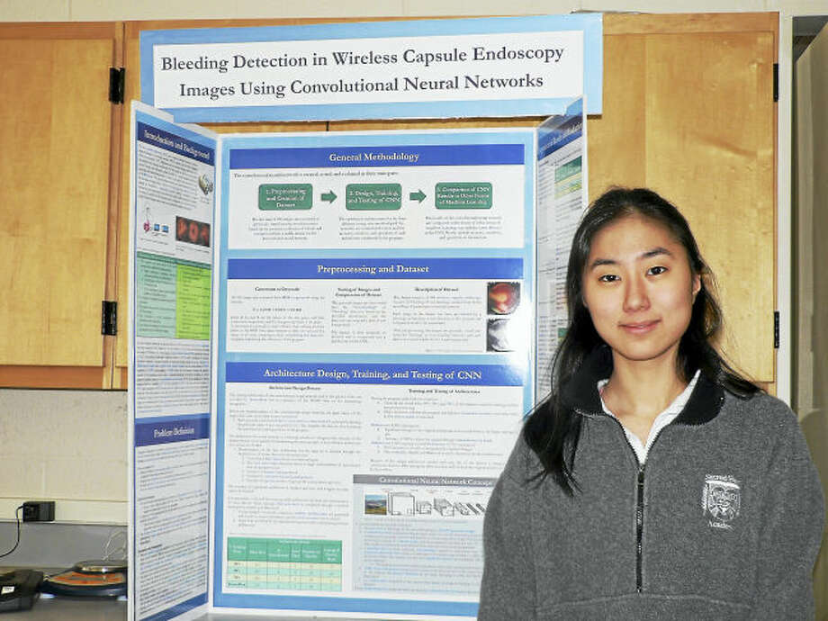 Contributed photo. Eunji Lee '18 placed second overall in the PepsiCo Physical Science category at the 69th Connecticut Science & Engineering Fair (CSEF) at Quinnipiac University. Eunji will represent Sacred Heart at the International Science and Engineering Fair (ISEF) in Los Angeles in May.