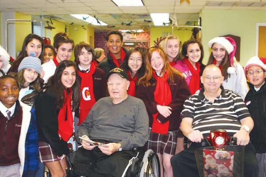 Submitted Photo St. Stephen School Students Visit Veterans Hospital in West Haven.