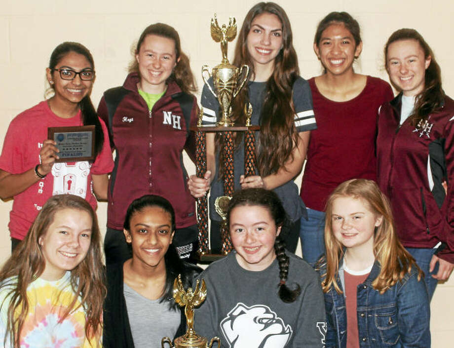Contributed photo. High School students attending the conference, back row from left, Niti Bidja, Hillary Hoyt, Emily Camera, Maily Tran, and Olivia Hoyt. Front row from left, Anna Wootton, Rahi Patel, Claire Looney, and Payton Hebert.