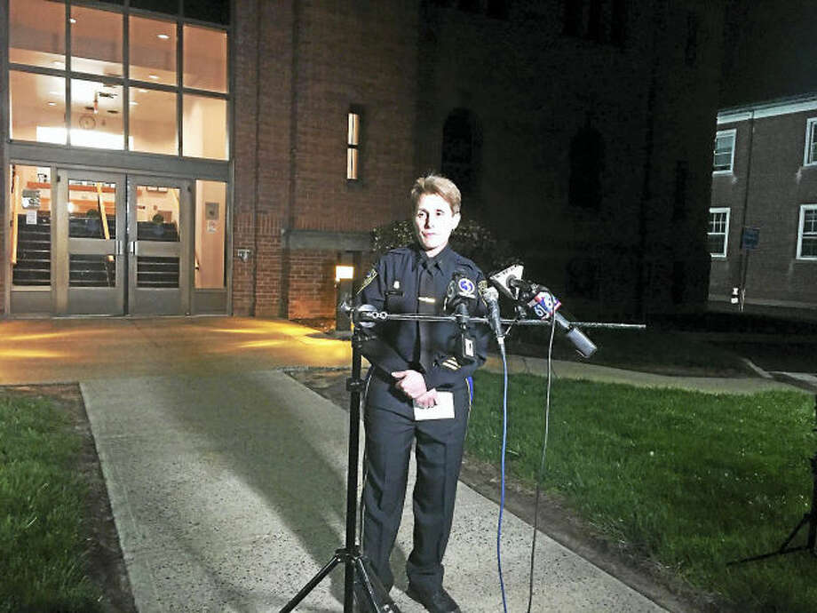 Wallingford police Lt. Cheryl Bradley speaks at a press conference Monday night about a plane crash that killed a Cheshire man.