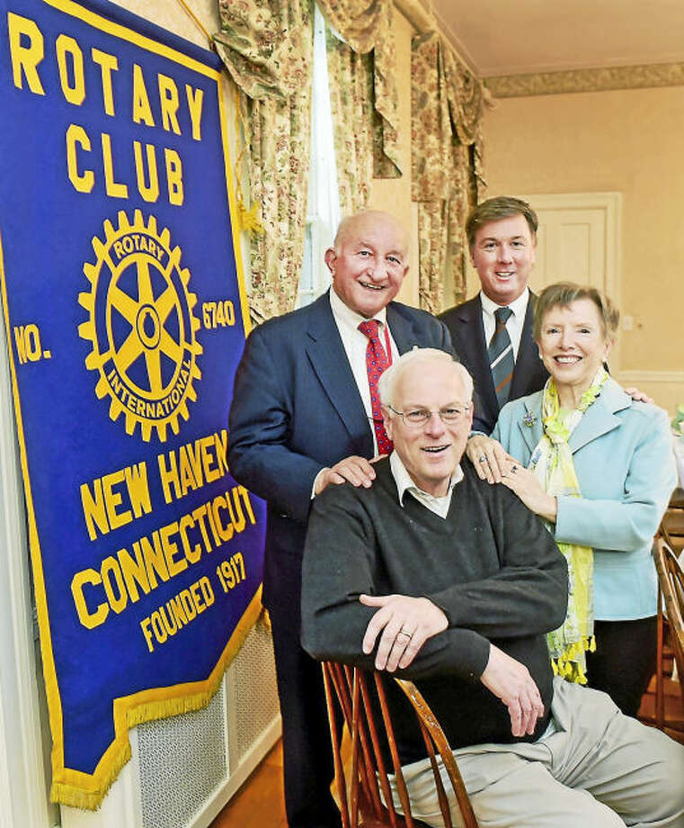 New Haven Rotary Club members, left to right: President Richard Popilowski of Fairfield; Colin Gershon of Branford, chairman of the 100th anniversary gala of the Rotary International in New Haven, Waterbury and New London; Past President Thomas Beirne of Milford; and Lesley Mills of New Haven, one of the first female members of the New Haven Rotary Club.