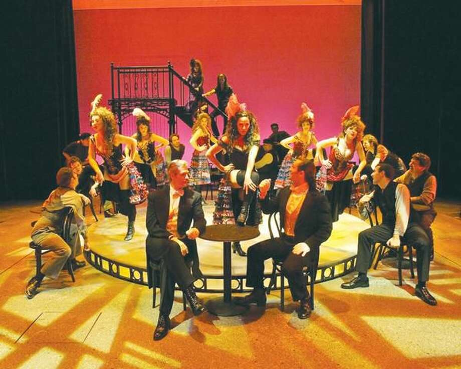 """Photo by John Vecchiolla The cast of """"Jekyll & Hyde"""" perform """"Bring On The Men"""" at the Westchester Broadway Theatre in Elmsford, New York."""