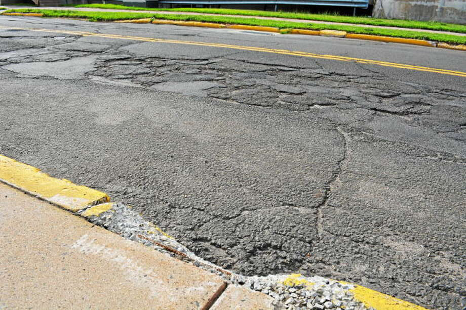 Pot holes in East Hampton in this file photo.