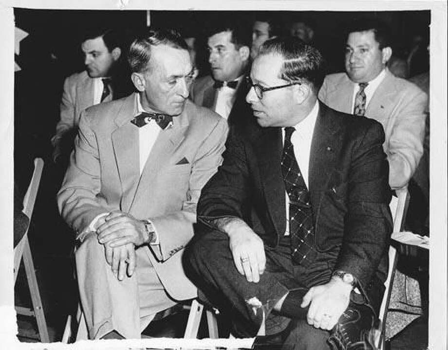Dom Carusone, left, and Bernie Nitkin at a 1954 Representative Town Meeting at which Hamden teachers received a $200 annual raise. (Photo courtesy of John Carusone)
