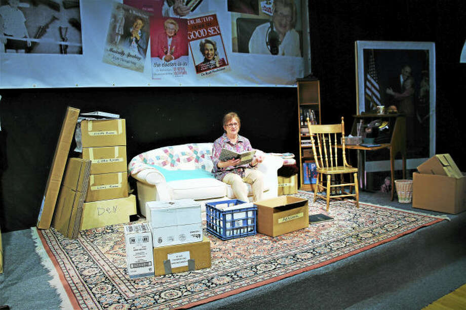 Contributed photo. Alice McMahon as Dr. Ruth Westheimer in Square One Theatre's production of Becoming Dr. Ruth.