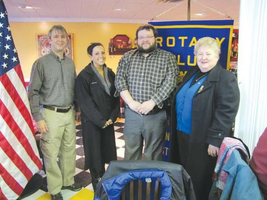 Photo courtesy of David Marchesseault, Rotary Secretary North Haven Rotary Program Chairman Mary Jane Mulligan, right, introduced local teachers, from left, Don Johnson, Krista Kaplan, and Anthony Giordano.
