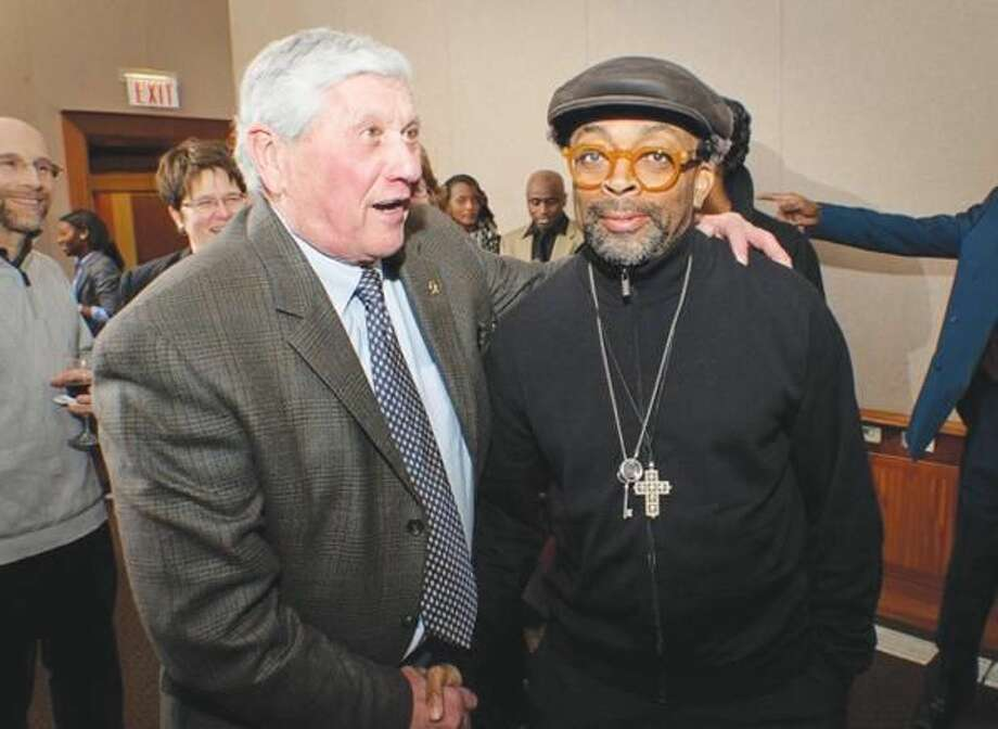Submitted Photo John LaViola, left, of Orange greeted Spike Lee who visited Quinnipiac University on Feb. 10, to deliver the annual Black History Month lecture.
