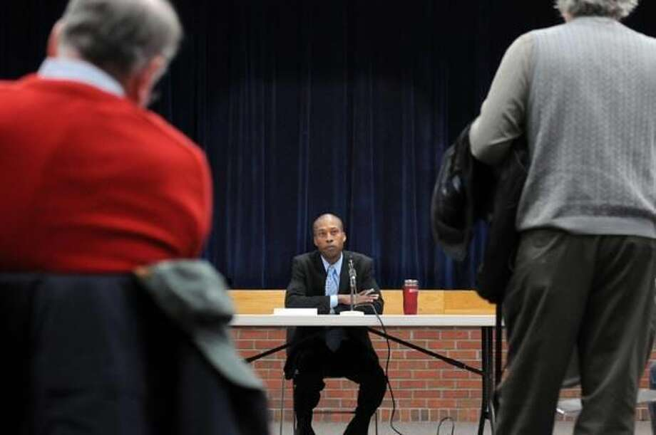 Photo by Mara Lavitt Hamden Mayor Scott D. Jackson holds a community forum Thursday at the Miller Library to get residents' input on the budget and other community concerns.