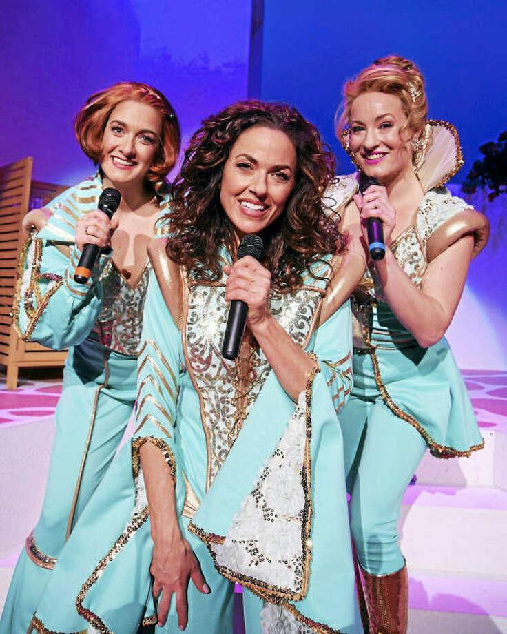 Photo by John Vecchiolla. Jennifer Swiderski, (as Rosie) Michelle Dawson as Donna Sheridan) and Elise Kinnon (as Tanya).
